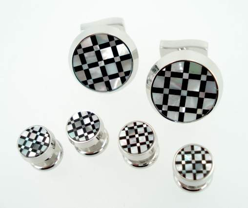 Pearl & Onyx Round Checkerboard 6pc Set