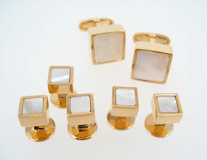 Gold Square Pearl Stud Set