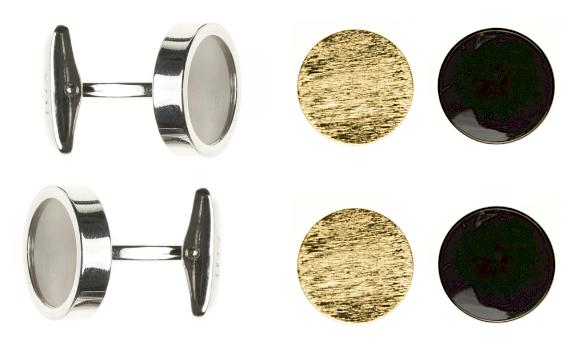 Interchangeable Formal Cufflinks - Pearl, Onyx & Gold