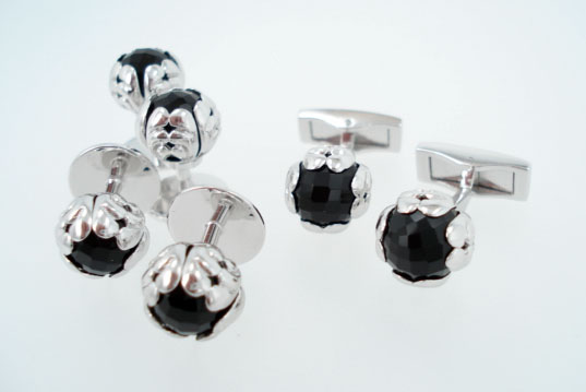 Sterling Vermeil Faceted Onyx 6pc Set