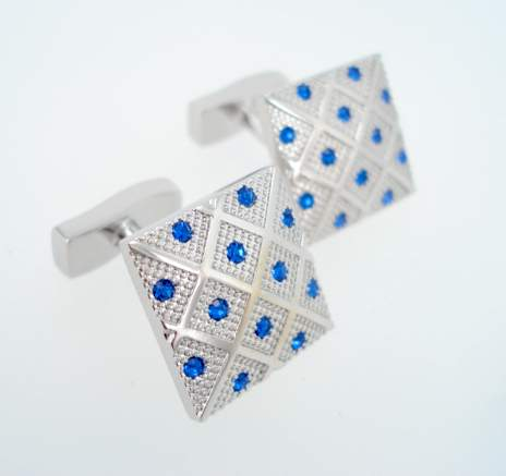 blue silver crystal cufflinks