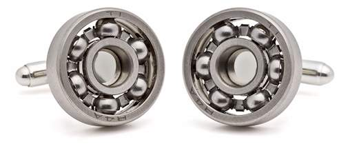 tokens and coins ball bearing cufflinks on sterling