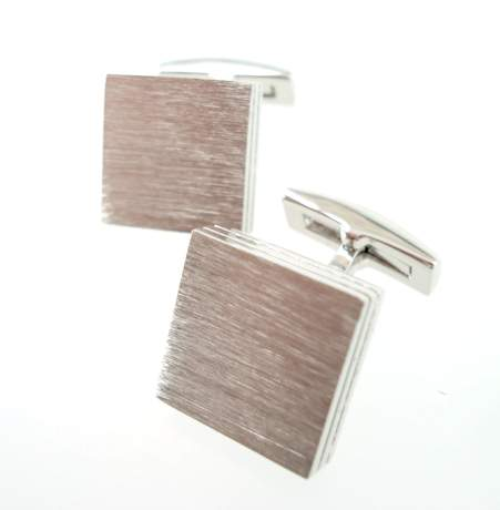 brushed silver square cufflinks