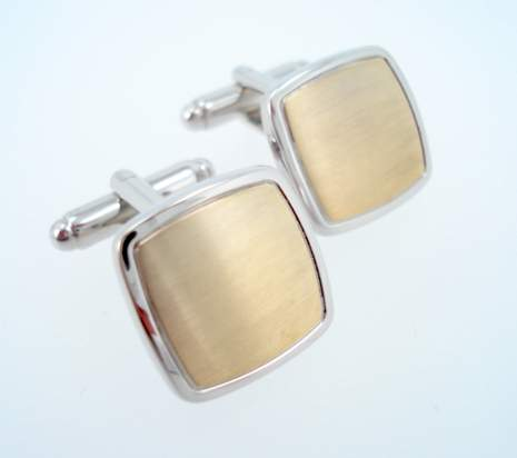 Brushed Brass Silver Square Cufflinks