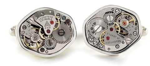 tokens and coins antique watch movement cufflinks in sterling