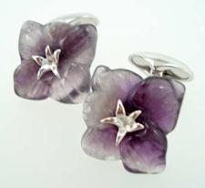 amethyst flower cufflinks