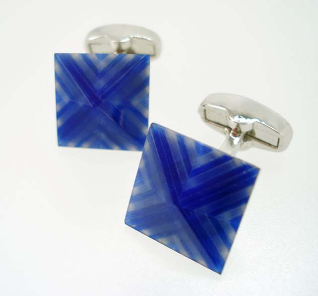 Blue Fiber Optic Pyramid Cufflinks