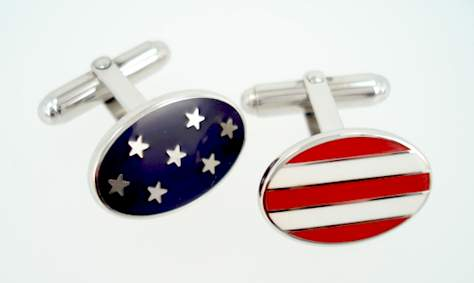 Enamel Stars and Stripes Cufflinks