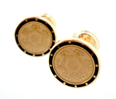 Victorian Antique Gold & Black Enamel Cufflinks