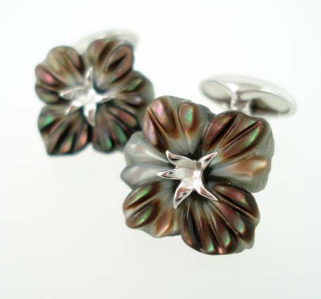 black pearl flower cufflinks