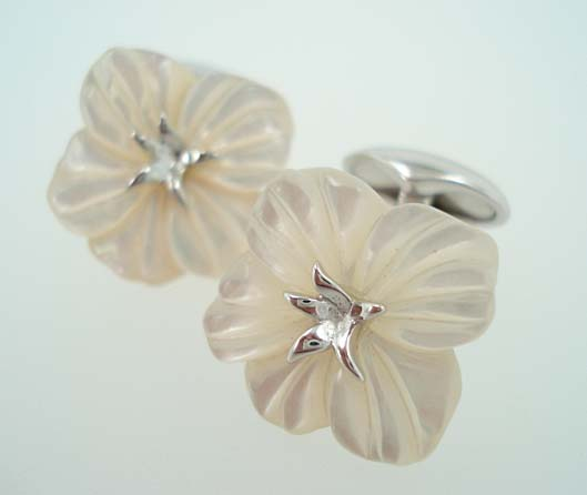 pearl flower cufflinks
