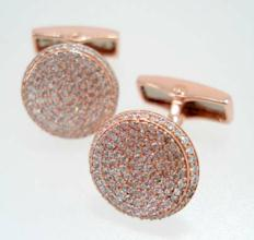 pink gold diamond cufflinks
