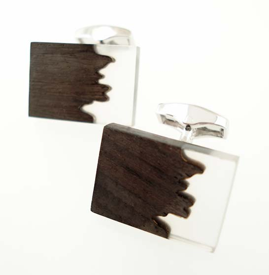 tateossian ebony clear acrylic cufflinks