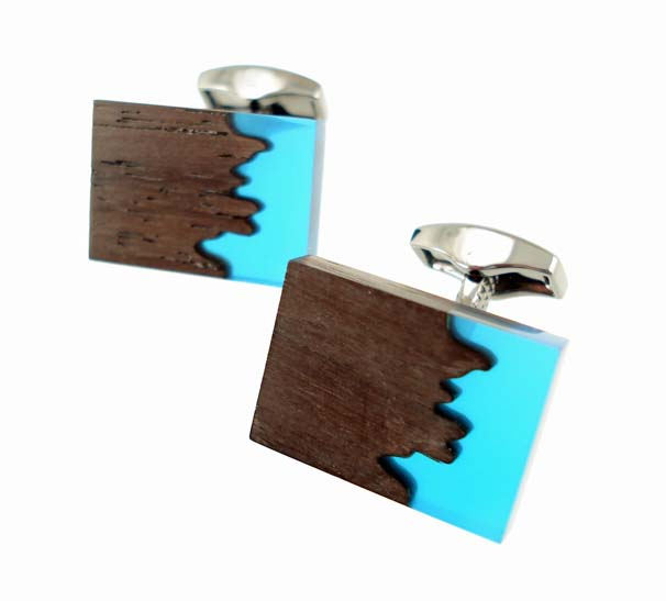 tateossian ebony blue acrylic cufflinks