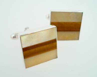 great falls meatalworks cufflinks mother of pearl tigers eye