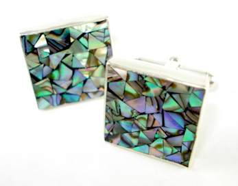great falls metalworks cufflinks Abalone Mosaic Square