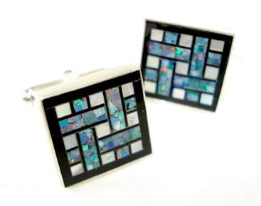 great falls metalworks cufflinks Opal, Onyx & Pearl Deco Grid