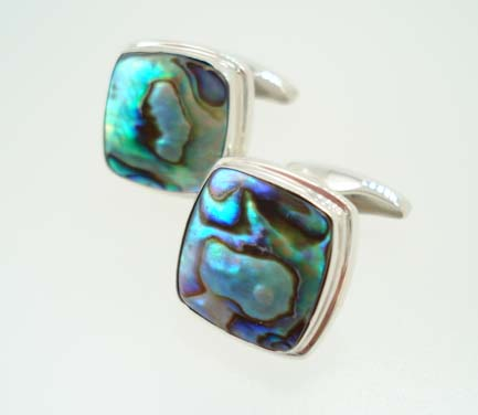 sterling abalone cufflinks