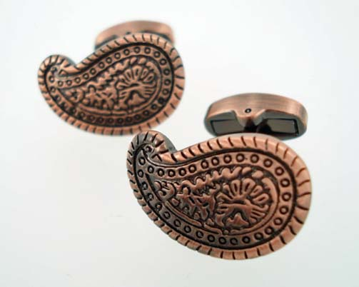 Vintage Copper Paisley Cufflinks