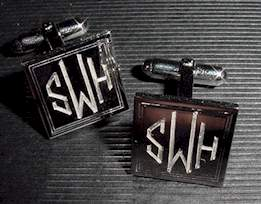 hand engraved cufflinks square