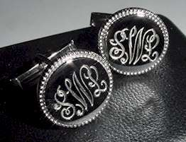 hand engraved cufflinks round