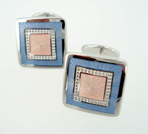Sterling Radiant Square Cufflinks - Pink & Blue