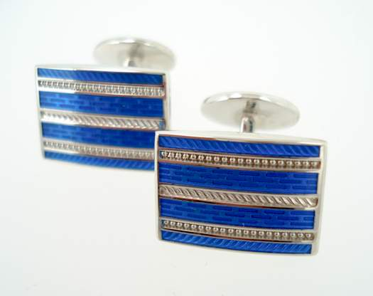 Sterling Four Pattern Rectangle Cufflinks