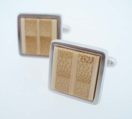 Bamboo Stainless Steel Cufflinks
