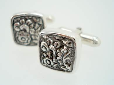 lori bonn cufflinks sterling antique floral