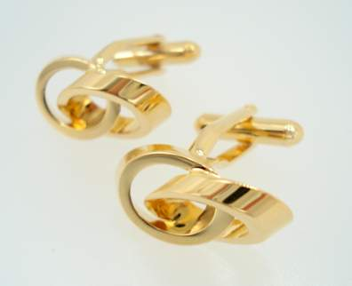 modern double rings - gold cufflinks