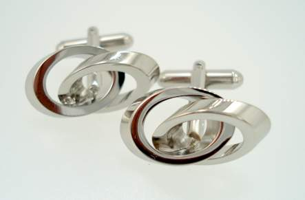 modern double rings - silver cufflinks