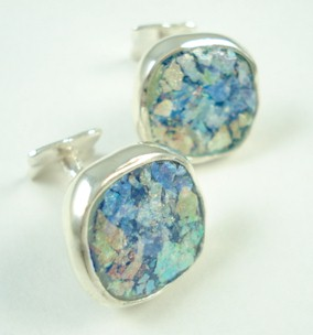 Roman Glass Cufflinks - Round