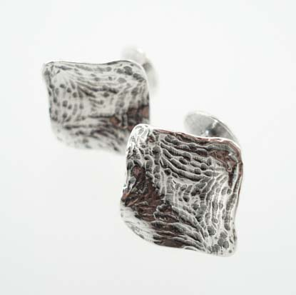 Handmade Antiqued Sterling Square Cufflinks