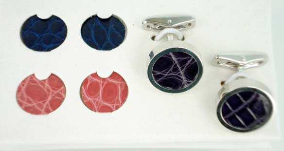 Interchangeable Alligator Cufflinks - Purple Pink Navy