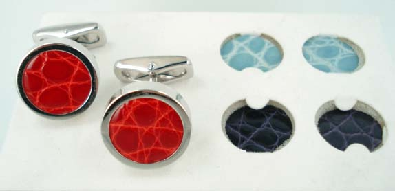Interchangeable Alligator Cufflinks - Red Purple Light Blue