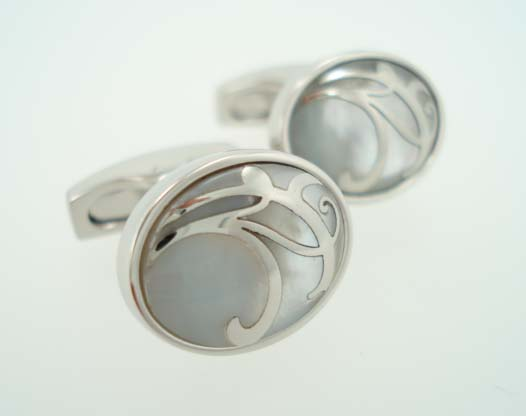 white pearl oval cufflinks