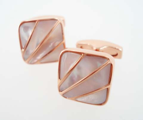 rose gold pearl cufflinks