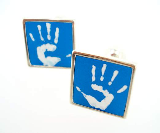custom handprint cufflinks