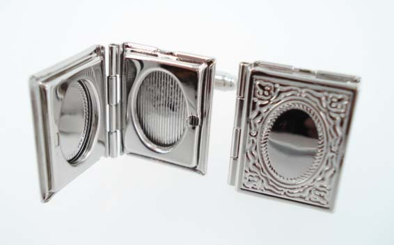 book locket cufflinks
