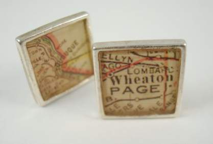 antique railroad map cufflinks