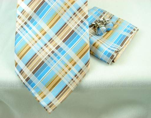 Woven Madras Plaid 4pc Set - Blue Sand